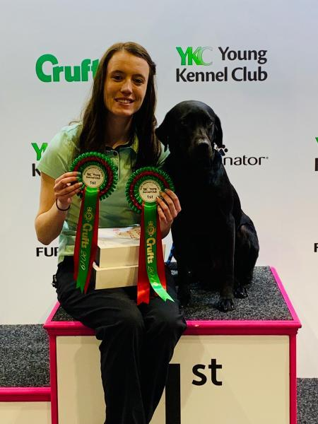 PRIZED POOCH: Samantha and Alfie bagged two rosettes