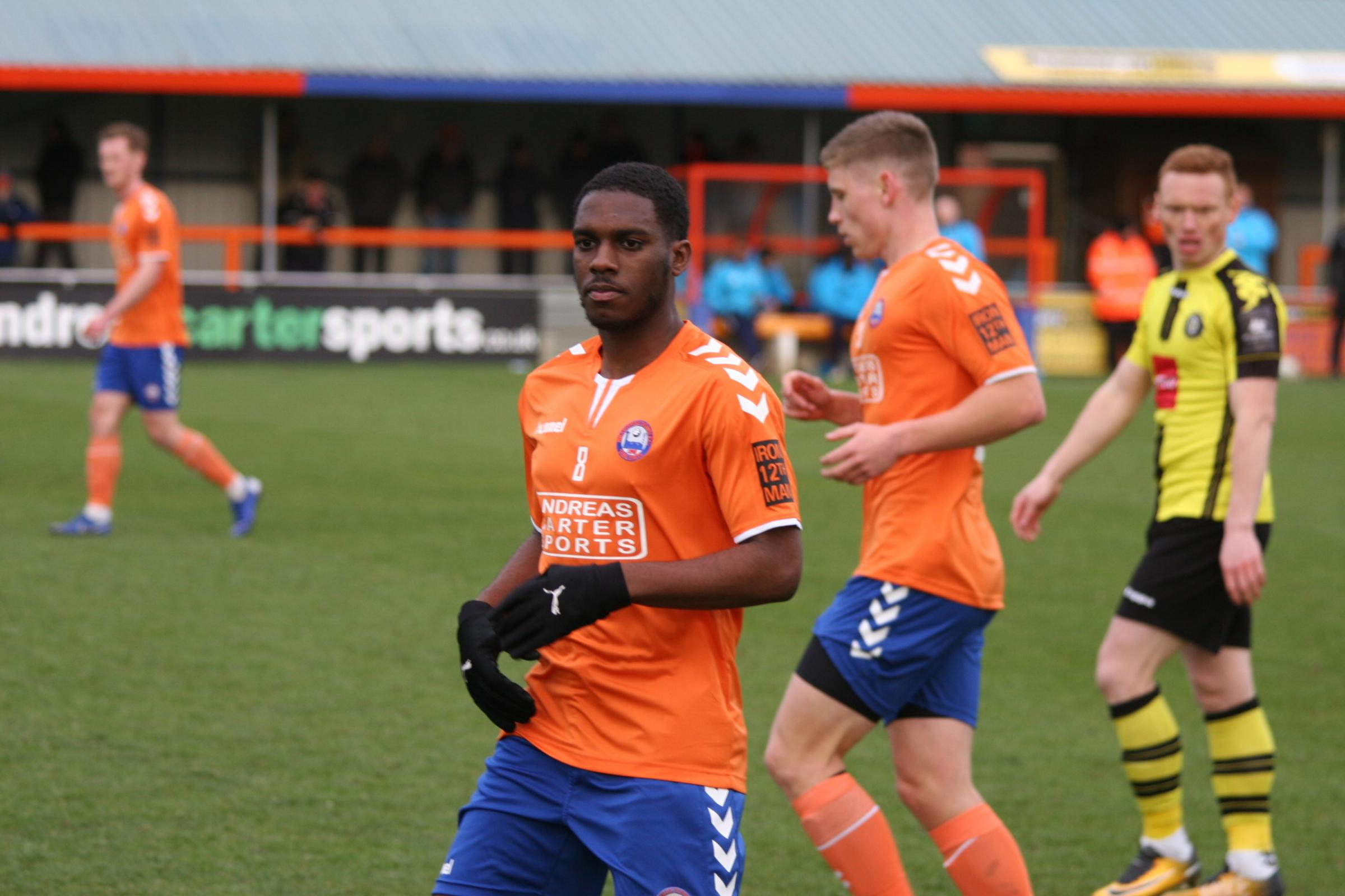 Derby County loanee Aaron Eyoma made two assists and scored his first goal for Braintree in a 3-0 victory at Sutton United. Picture: Jon Weaver