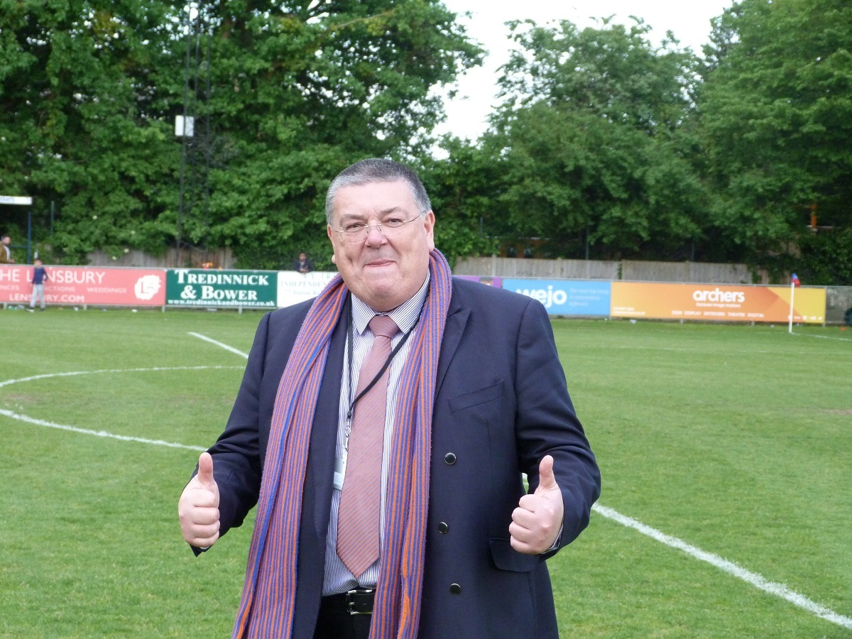 Braintree Town chairman Lee Harding enjoys the promotion party after his team's play-off final win at Hampton and Richmond Borough..