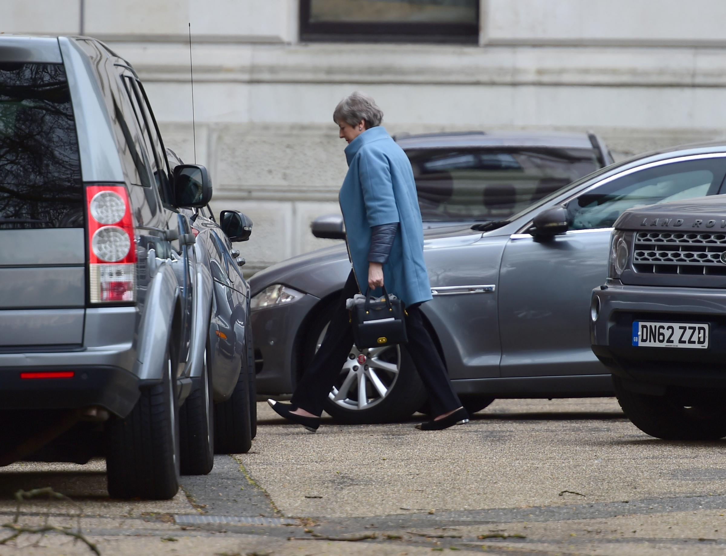 Prime Minister Theresa May arrives at Downing Street in London. PRESS ASSOCIATION Photo. Picture date: Monday March 18, 2019. See PA story POLITICS Brexit. Photo credit should read: David Mirzoeff/PA Wire