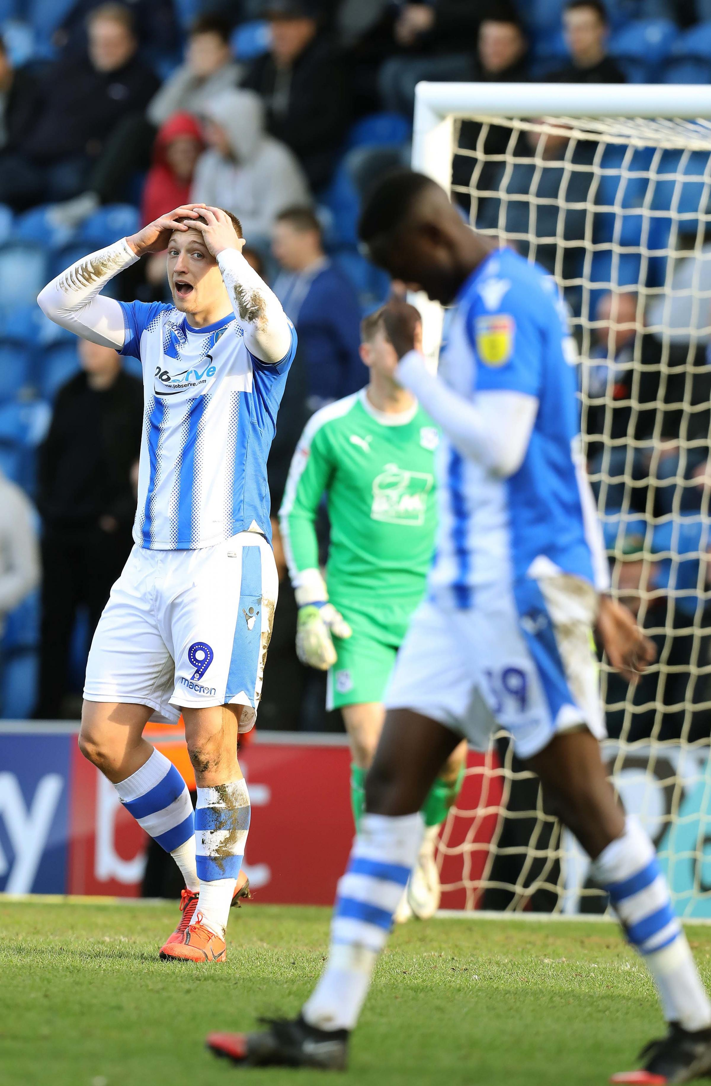 Disbelief - Colchester United striker Luke Norris can't believe it after a chance goes begging against Tranmere Rovers Picture: STEVE BRADING