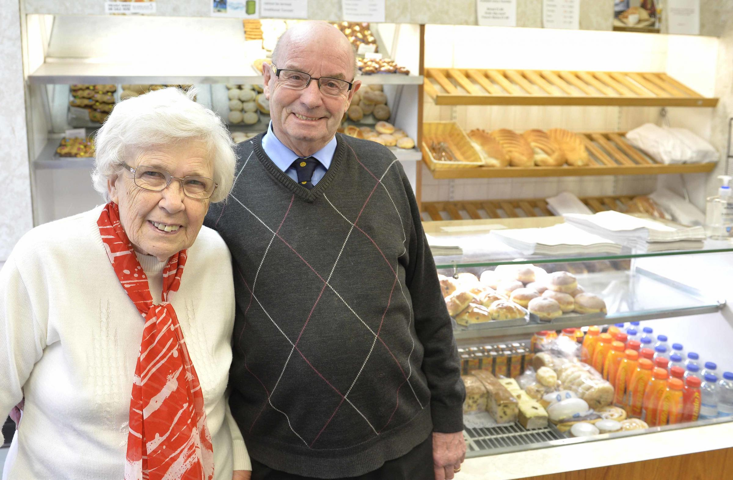 Ann and Dennis Hume, who have run Hume's bakery in Halstead High Street, for 58 years.