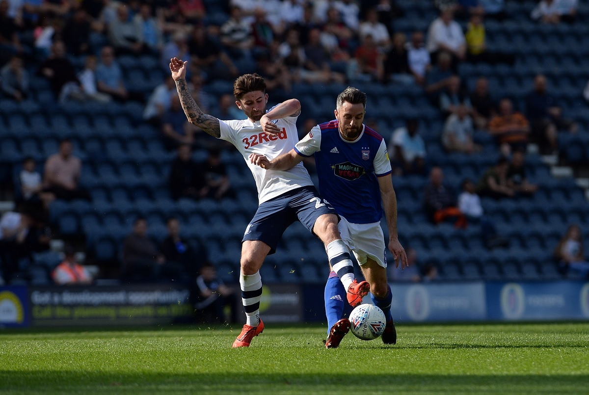 Cole Skuse battles for possession during Ipswich's heavy defeat at Deepdale Picture: Pagepix