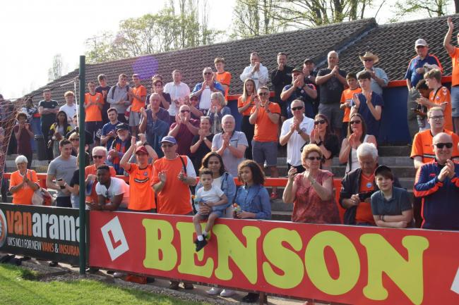 Braintree fans stayed behind at the final whistle to see the end-of-season awards handed out to players. Picture: Jon Weaver