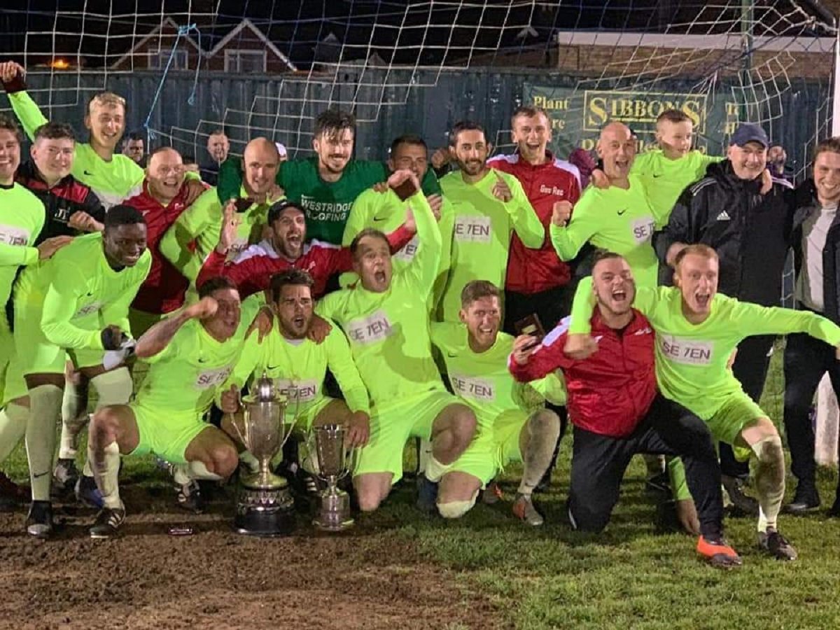 Gas celebrate their Knockout Cup success after defeating AFC Sudbury A