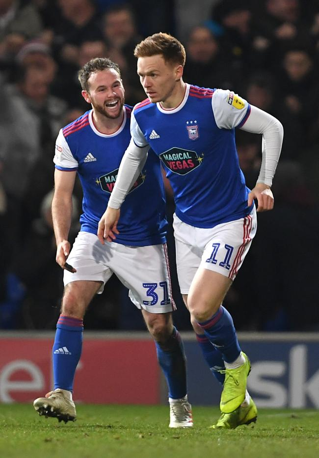Ipswich Town's Jon Nolan (right) celebrates scoring a goal alongside midfield colleague Alan Judge. Both will be hoping to impress during next season's League One campaign.